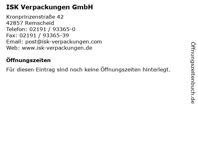 ISK Verpackungen GmbH in Remscheid: Adresse und Öffnungszeiten