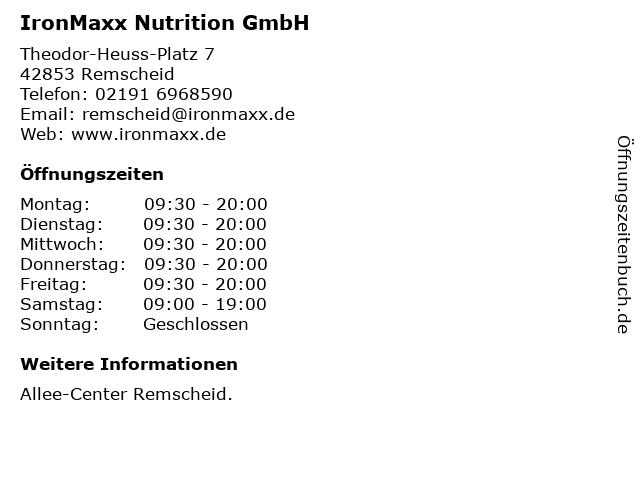 IronMaxx Nutrition GmbH in Remscheid: Adresse und Öffnungszeiten