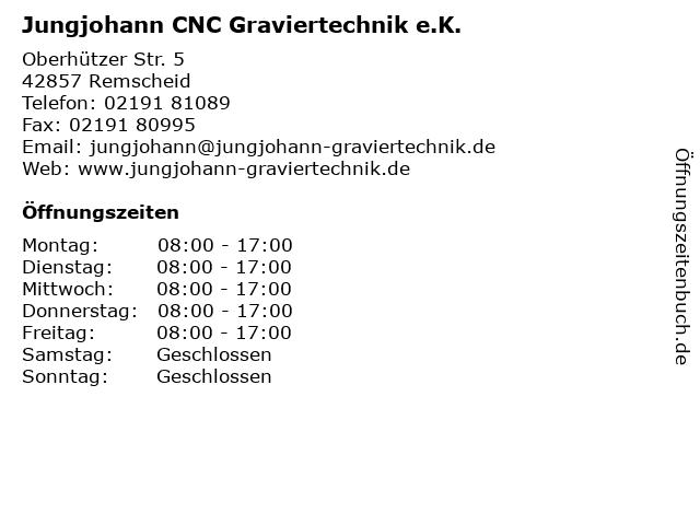 Jungjohann CNC Graviertechnik e.K. in Remscheid: Adresse und Öffnungszeiten