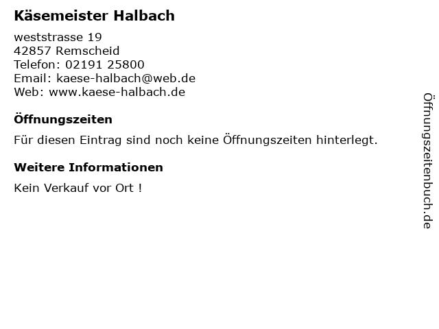Käsemeister Halbach in Remscheid: Adresse und Öffnungszeiten