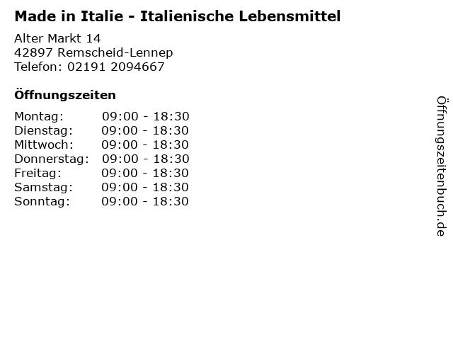 Made in Italie - Italienische Lebensmittel in Remscheid-Lennep: Adresse und Öffnungszeiten