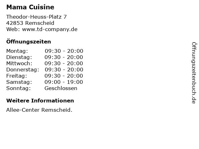 Mama Cuisine in Remscheid: Adresse und Öffnungszeiten
