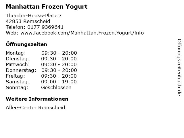 Manhattan Frozen Yogurt in Remscheid: Adresse und Öffnungszeiten