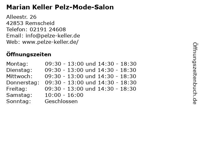 Marian Keller Pelz-Mode-Salon in Remscheid: Adresse und Öffnungszeiten