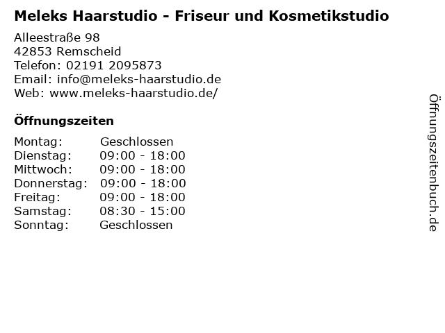 Meleks Haarstudio - Friseur und Kosmetikstudio in Remscheid: Adresse und Öffnungszeiten