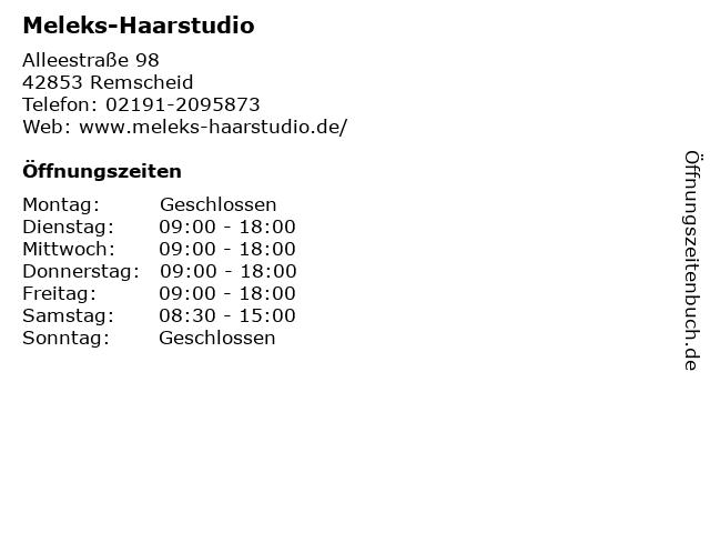 Meleks-Haarstudio in Remscheid: Adresse und Öffnungszeiten