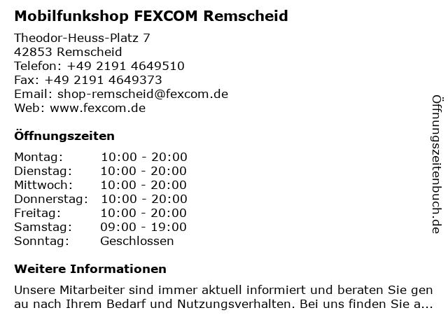 Mobilfunkshop FEXCOM Remscheid in Remscheid: Adresse und Öffnungszeiten