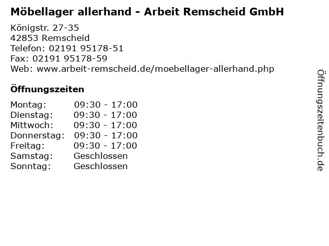 Möbellager allerhand - Arbeit Remscheid GmbH in Remscheid: Adresse und Öffnungszeiten