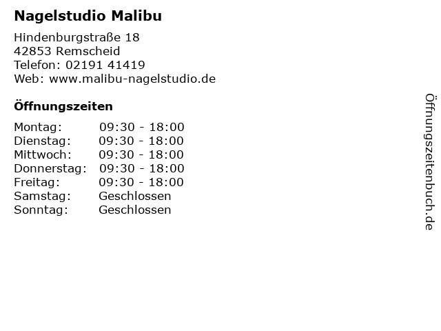 Nagelstudio Malibu in Remscheid: Adresse und Öffnungszeiten