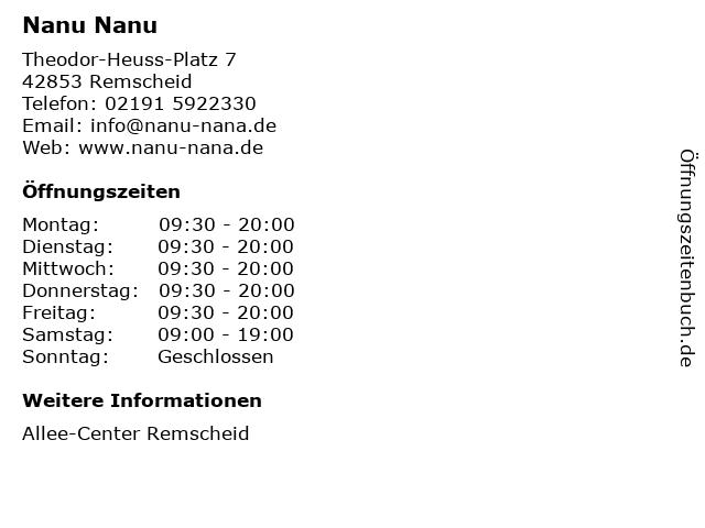 Nanu Nanu in Remscheid: Adresse und Öffnungszeiten
