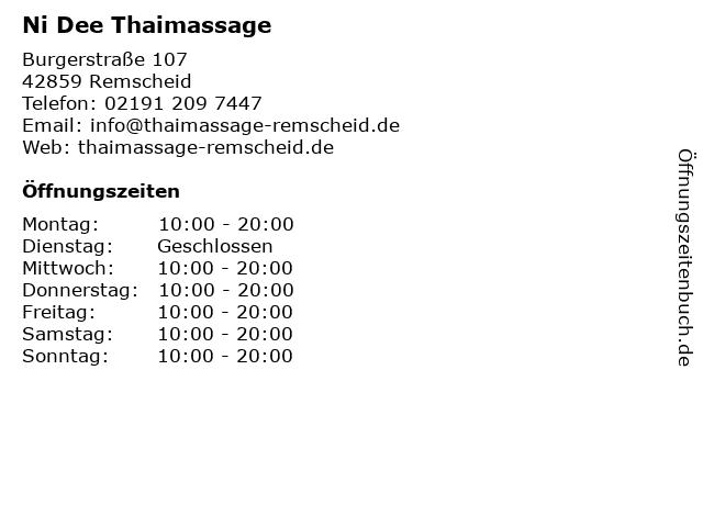 Ni Dee Thaimassage in Remscheid: Adresse und Öffnungszeiten