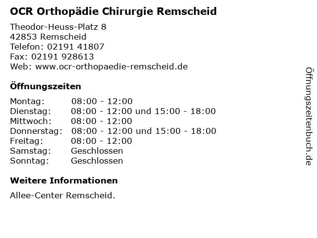 OCR Orthopädie Chirurgie Remscheid in Remscheid: Adresse und Öffnungszeiten