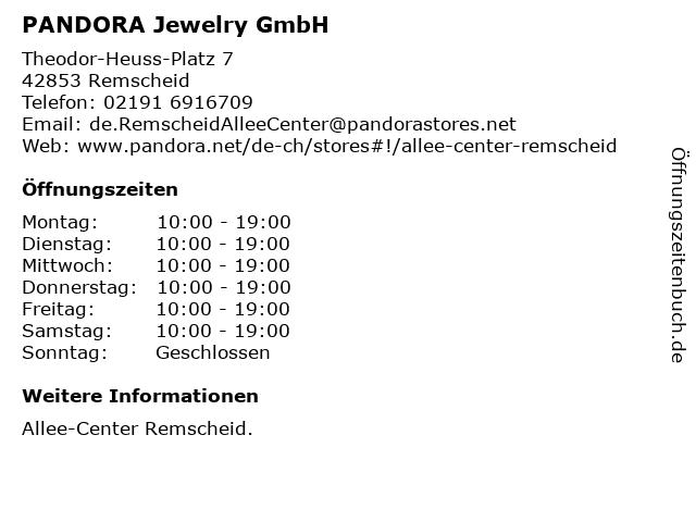 PANDORA Jewelry GmbH in Remscheid: Adresse und Öffnungszeiten