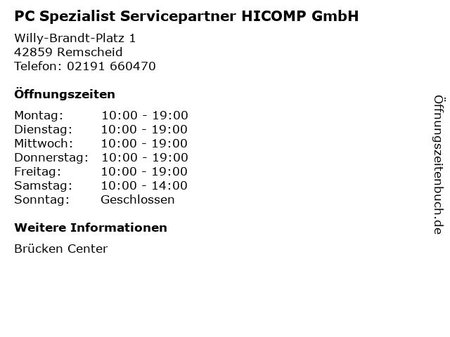 PC Spezialist Servicepartner HICOMP GmbH in Remscheid: Adresse und Öffnungszeiten
