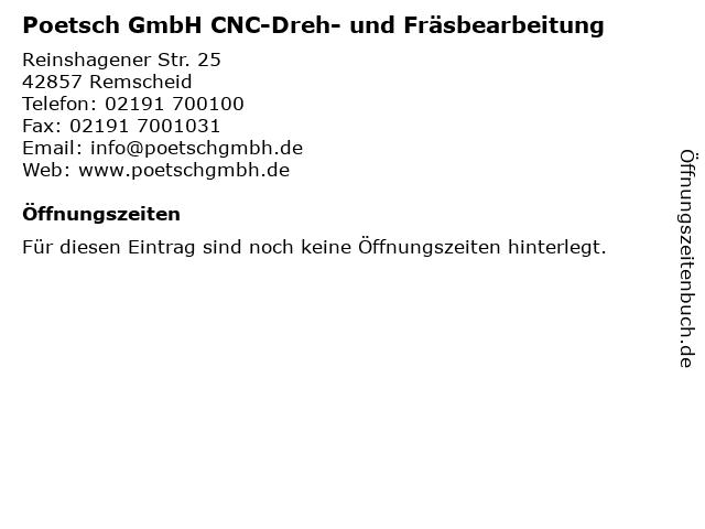 Poetsch GmbH CNC-Dreh- und Fräsbearbeitung in Remscheid: Adresse und Öffnungszeiten