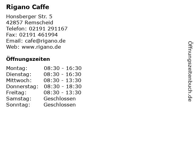 Rigano Caffe in Remscheid: Adresse und Öffnungszeiten