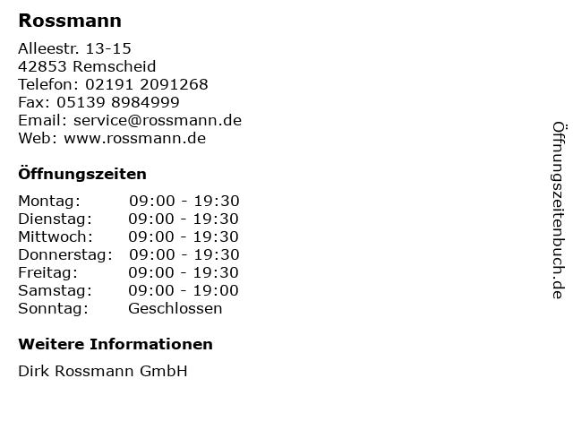 Rossmann in Remscheid: Adresse und Öffnungszeiten