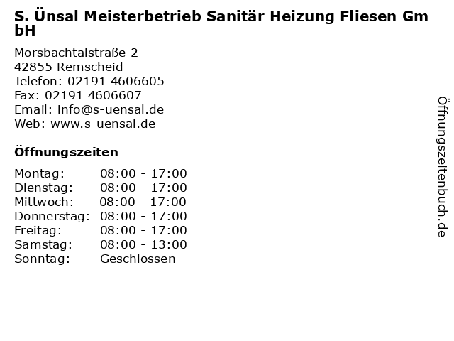 S. Ünsal Meisterbetrieb Sanitär Heizung Fliesen GmbH in Remscheid: Adresse und Öffnungszeiten