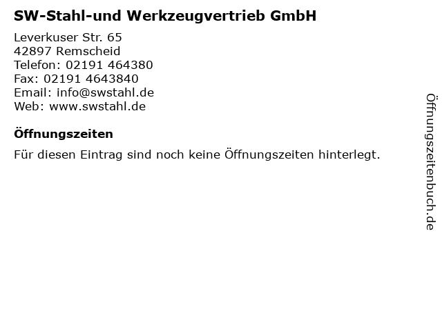 SW-Stahl-und Werkzeugvertrieb GmbH in Remscheid: Adresse und Öffnungszeiten
