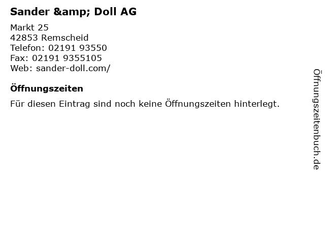 Sander & Doll AG in Remscheid: Adresse und Öffnungszeiten