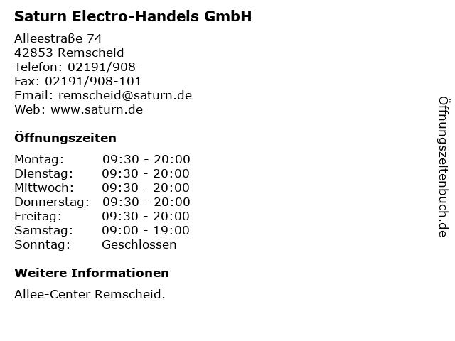 Saturn Electro-Handels GmbH in Remscheid: Adresse und Öffnungszeiten
