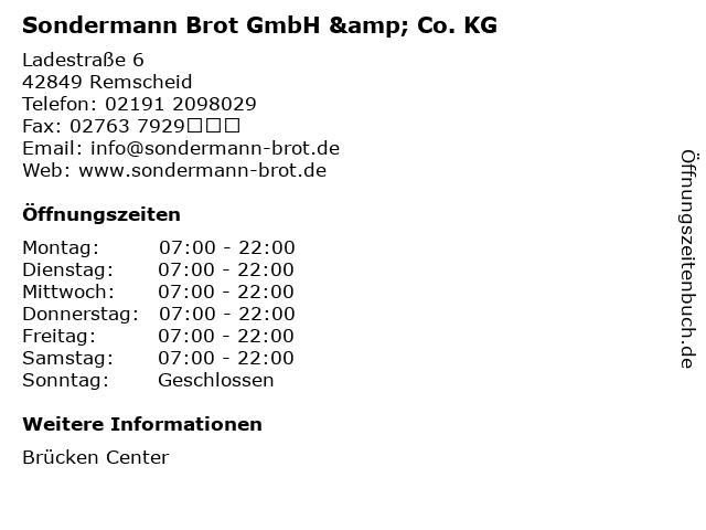 Sondermann Brot GmbH & Co. KG in Remscheid: Adresse und Öffnungszeiten