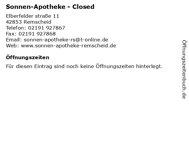 Sonnen-Apotheke in Remscheid: Adresse und Öffnungszeiten