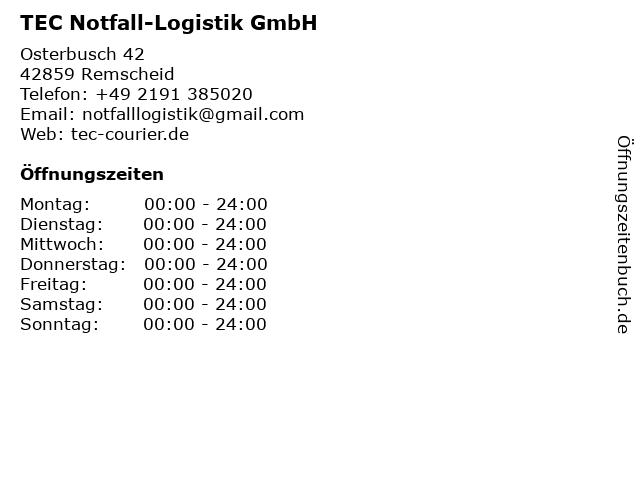 TEC Notfall-Logistik GmbH in Remscheid: Adresse und Öffnungszeiten