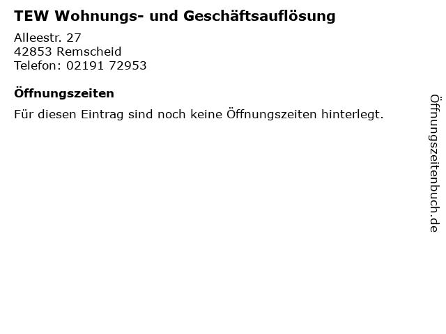 TEW Wohnungs- und Geschäftsauflösung in Remscheid: Adresse und Öffnungszeiten