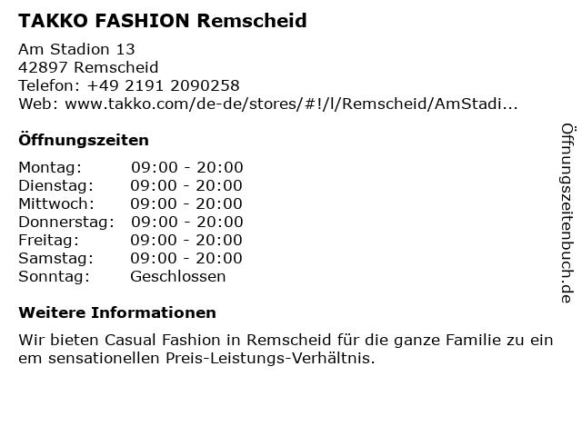 Takko Fashion in Remscheid: Adresse und Öffnungszeiten