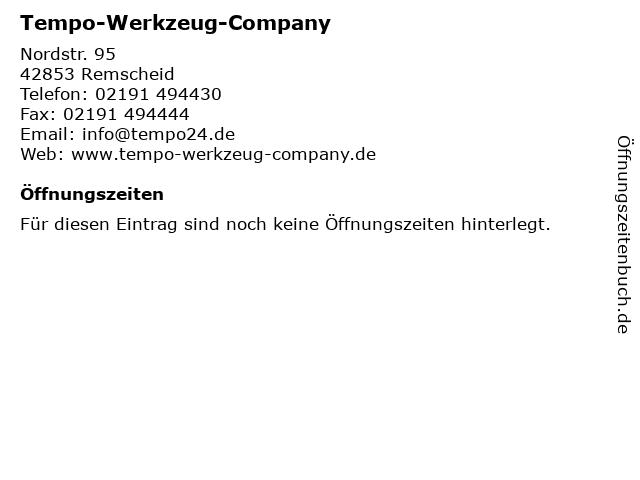 Tempo-Werkzeug-Company in Remscheid: Adresse und Öffnungszeiten