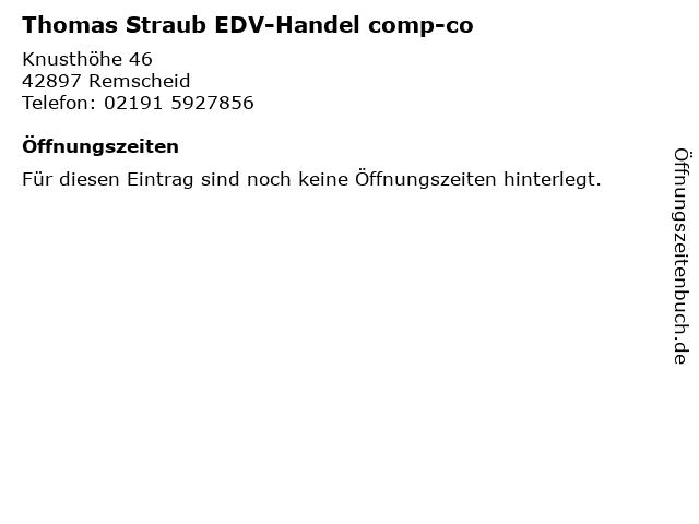 Thomas Straub EDV-Handel comp-co in Remscheid: Adresse und Öffnungszeiten
