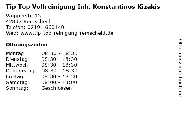 Tip Top Vollreinigung Inh. Konstantinos Kizakis in Remscheid: Adresse und Öffnungszeiten