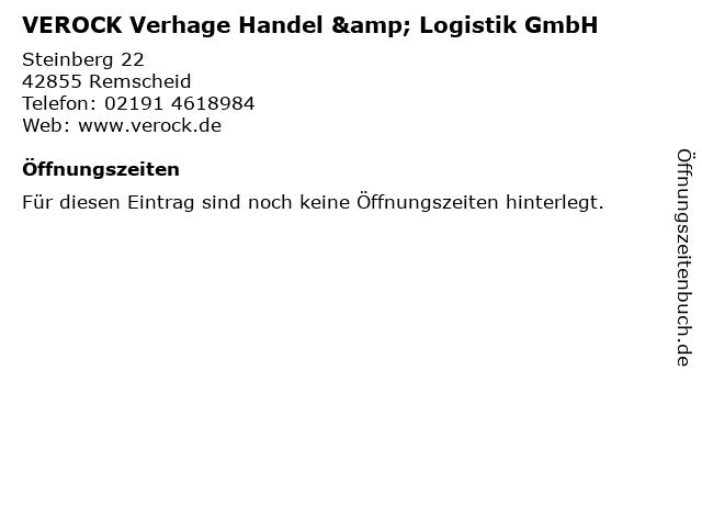VEROCK Verhage Handel & Logistik GmbH in Remscheid: Adresse und Öffnungszeiten