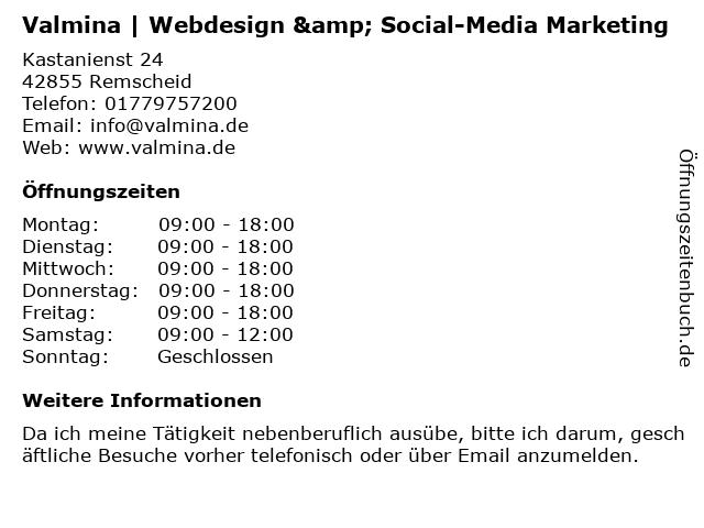 Valmina   Webdesign & Social-Media Marketing in Remscheid: Adresse und Öffnungszeiten
