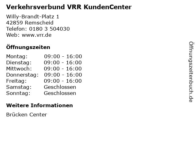 Verkehrsverbund VRR KundenCenter in Remscheid: Adresse und Öffnungszeiten