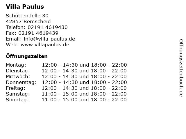 Villa Paulus in Remscheid: Adresse und Öffnungszeiten