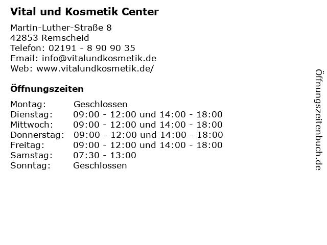 Vital und Kosmetik Center in Remscheid: Adresse und Öffnungszeiten