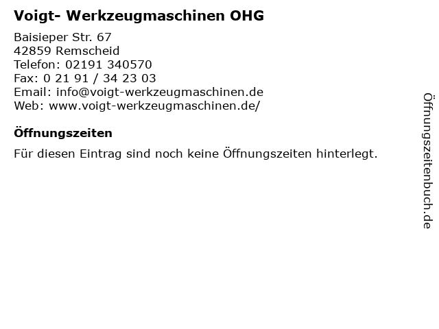 Voigt- Werkzeugmaschinen OHG in Remscheid: Adresse und Öffnungszeiten