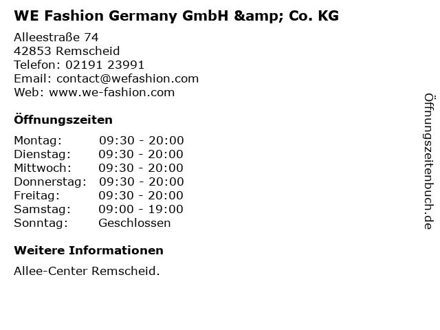 WE Fashion Germany GmbH & Co. KG in Remscheid: Adresse und Öffnungszeiten