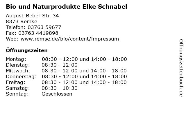 Bio und Naturprodukte Elke Schnabel in Remse: Adresse und Öffnungszeiten
