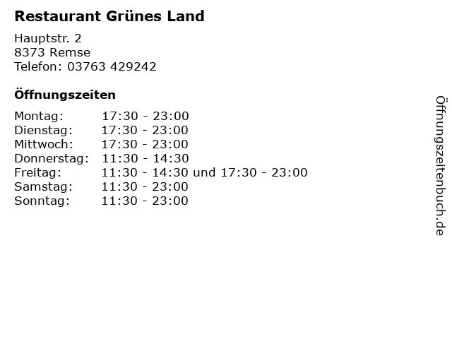Restaurant Grünes Land in Remse: Adresse und Öffnungszeiten