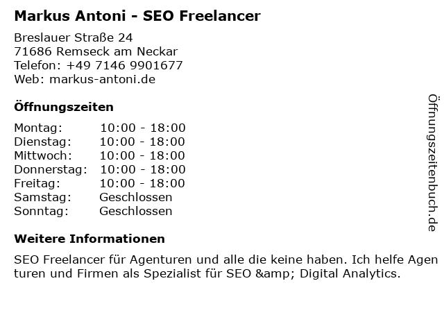Markus Antoni - SEO Freelancer in Remseck am Neckar: Adresse und Öffnungszeiten