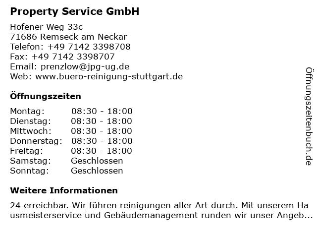 Property Service GmbH in Remseck am Neckar: Adresse und Öffnungszeiten
