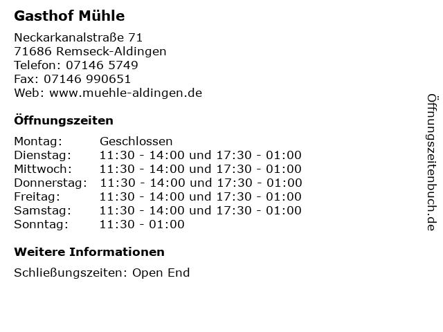 Gasthof Mühle in Remseck-Aldingen: Adresse und Öffnungszeiten