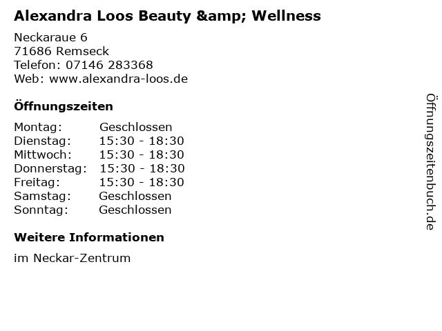 Alexandra Loos Beauty & Wellness in Remseck: Adresse und Öffnungszeiten