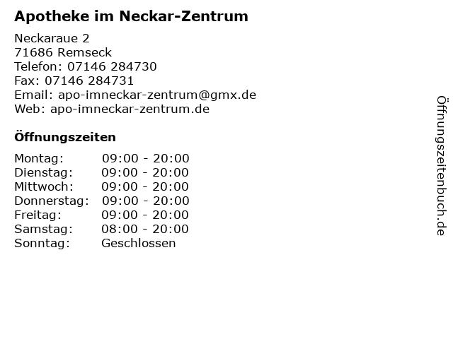 Apotheke im Neckar-Zentrum in Remseck: Adresse und Öffnungszeiten