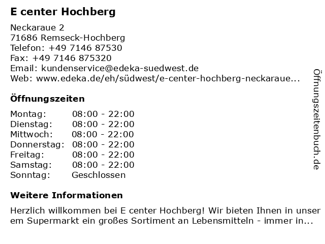 E center Hochberg in Remseck am Neckar: Adresse und Öffnungszeiten