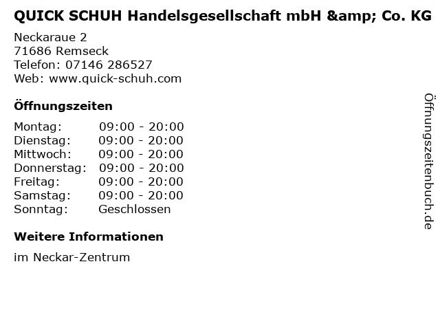 QUICK SCHUH Handelsgesellschaft mbH & Co. KG in Remseck: Adresse und Öffnungszeiten