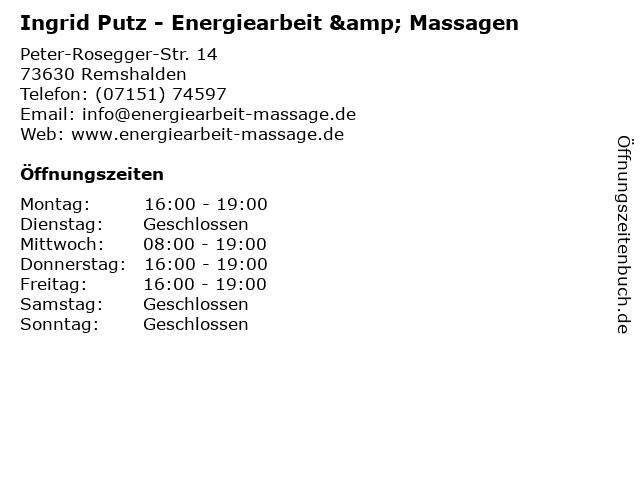 Ingrid Putz - Energiearbeit & Massagen in Remshalden: Adresse und Öffnungszeiten